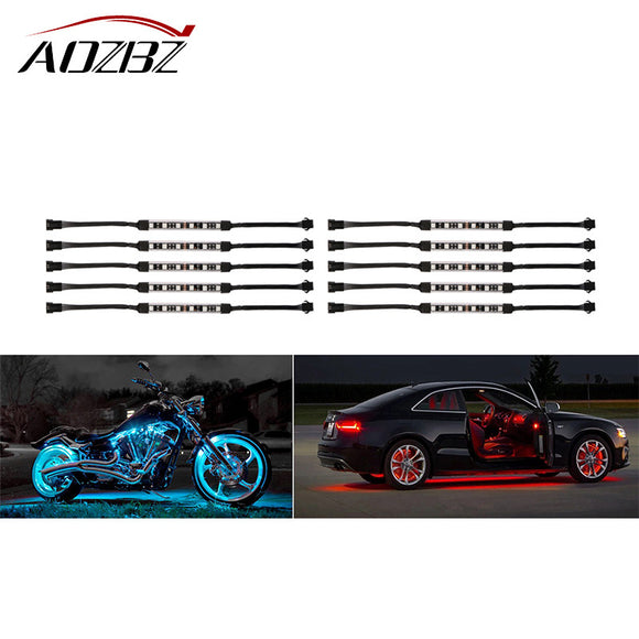 AOZBZ LED 10PCS RGB Wireless Remote Control Car Motorcycle Light Atmosphere Lamp with Smart Brake Light 60-LED 5050SMD