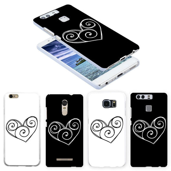 Loving Heart Scrawl Phone Case Cover for iPhone 6S 8 X Samsung S6 Huawei P9 Plus