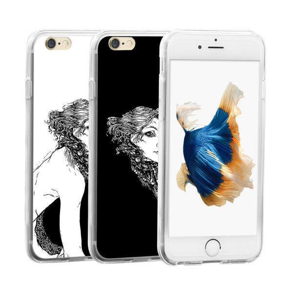 Sexy Lady Sketch Pattern Phone Case Cover for iPhone 4 5S Samsung Galaxy Note 4