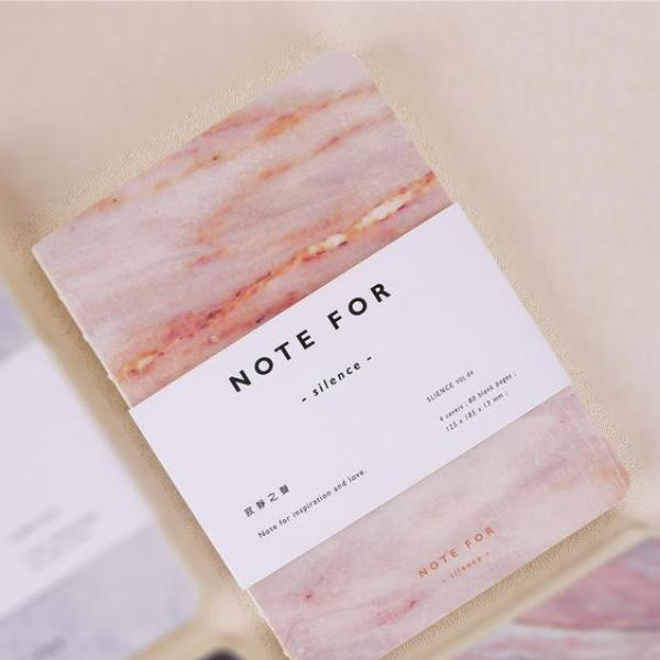 Marble Diary Notebook in Pink