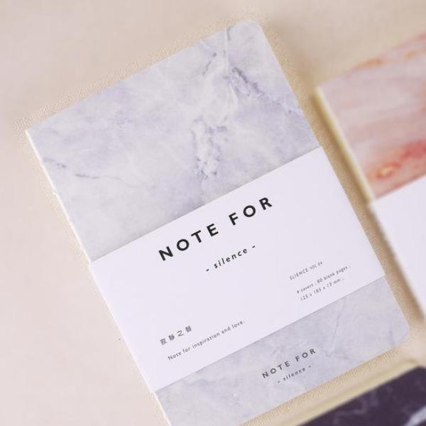 Marble Diary Notebook in White