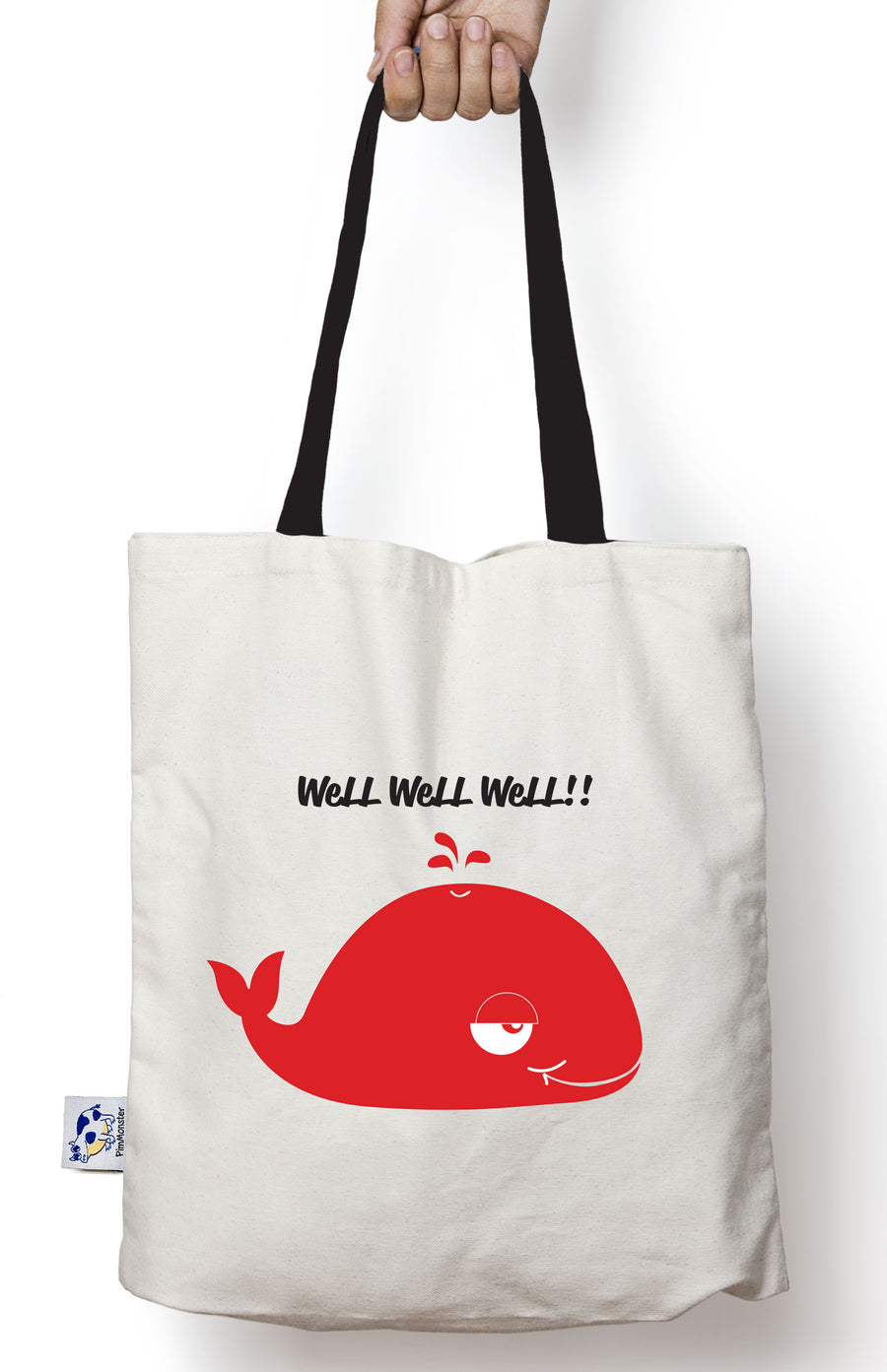 Well Well Whale cotton canvas tote bag