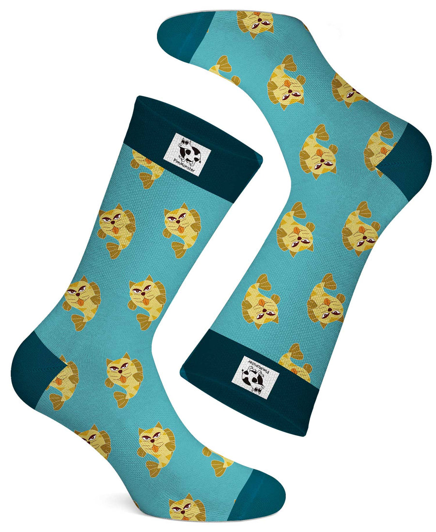 For the cat and fish lover, imagine how cool you would look when you have a combined cat and fish pattern on a sock! This cool Pimmonster Catfish sock will comfort your feet and add that extra pizzazz to your step.