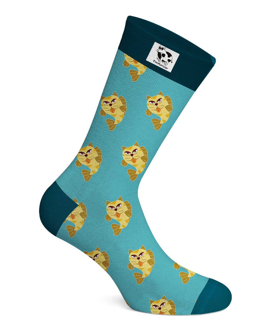 Cat and fish lovers socks