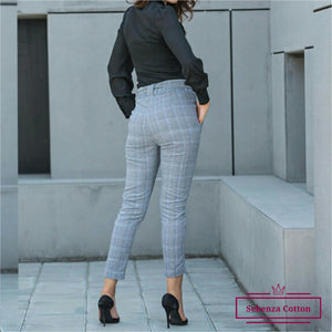 High Waist Plaid Pant