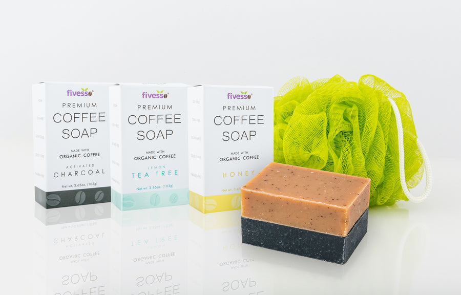 Fivesso Natural Cleansing Coffee Soaps: 3-Pack