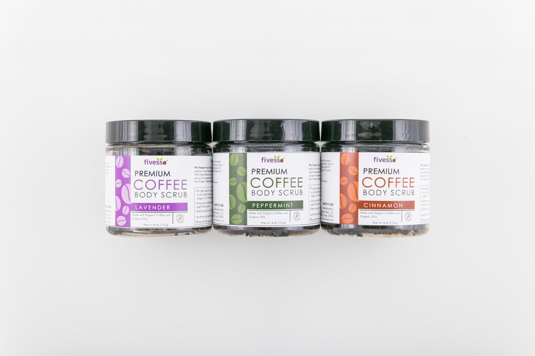 Variety Organic Coffee Body Scrub Package (Pack of 3 Jars)