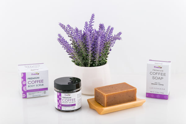 Fivesso Starter Package: Organic Coffee Soap and Coffee Body Scrub -  Peppermint / Peppermint / Green
