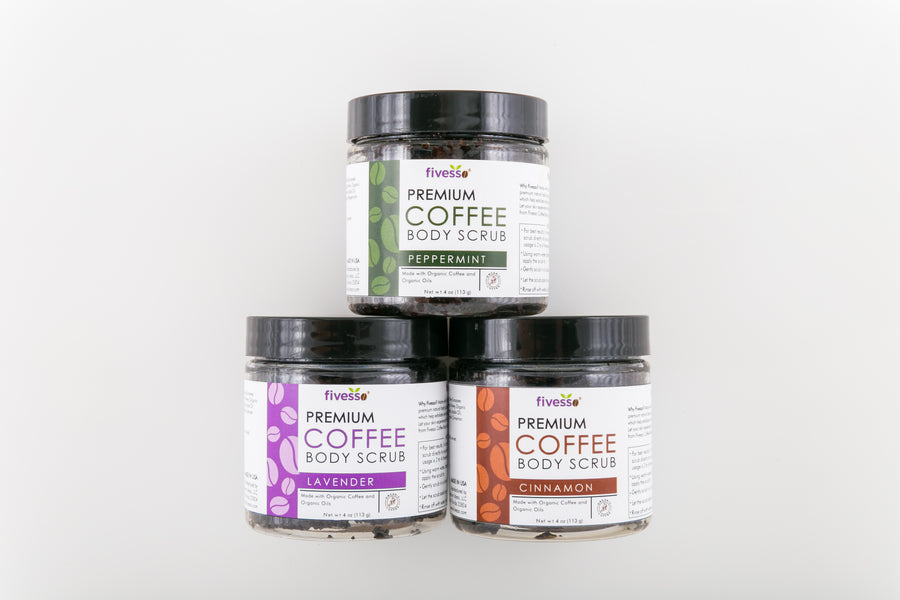 Variety Organic Coffee Body Scrub Package (Pack of 3)