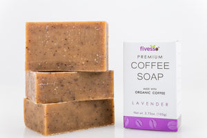 Premium Coffee Soap Bar  - Lavender (Pack of 3 Bars)