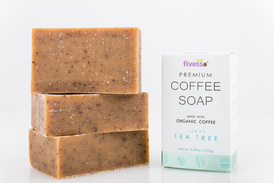 Lemon Tea Tree - Premium Coffee Soap Bar (Pack of 3 Bars)