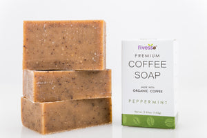 Premium Coffee Soap Bar - Peppermint (Pack of 3 Bars)