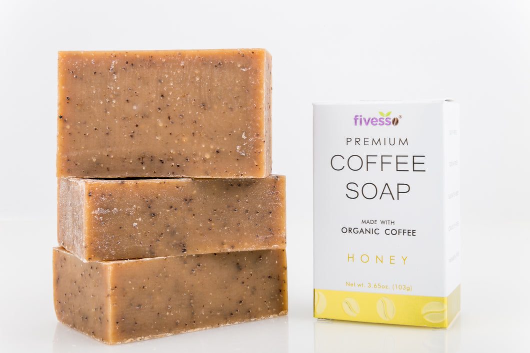 Premium Coffee Soap Bar - Honey (Pack of 3 Bars)
