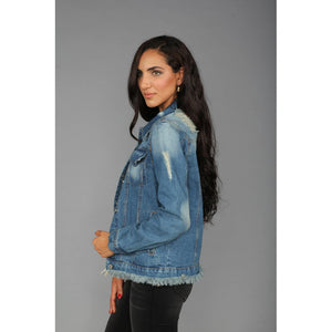 Distressed Frayed Hem Denim Jacket in Medium Denim