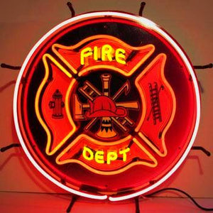 Fire Department Neon Sign with Backing