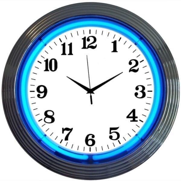Chrome Rim Blue Neon Clock