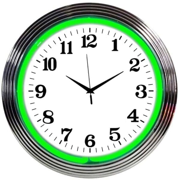 Chrome Rim Green Neon Clock
