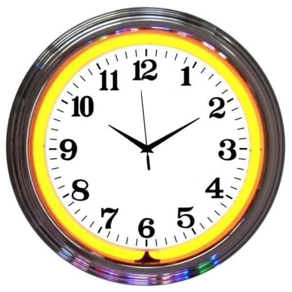Chrome Rim Orange Neon Clock