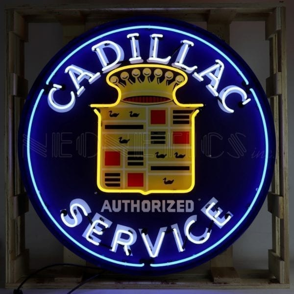 "36"" Cadillac Service Neon Sign in Steel Can"