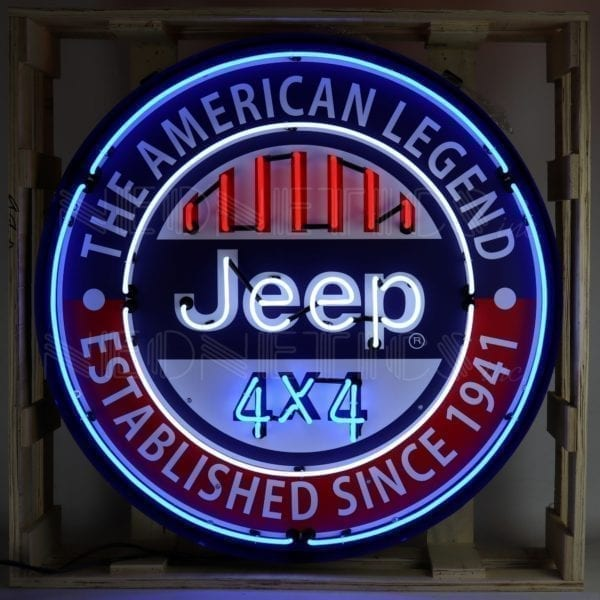 "36"" Jeep American Legend Neon Sign in Steel Can"