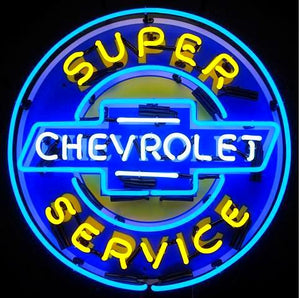 Super Chevrolet Service Neon Sign with Backing