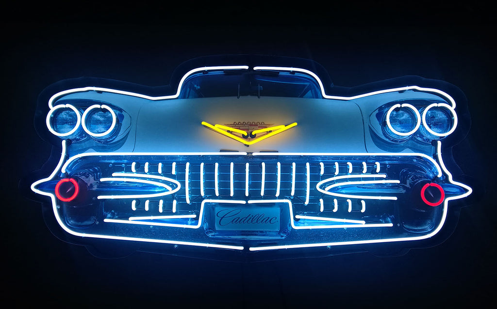 5' Cadillac Grill Neon Sign in a Steel Can