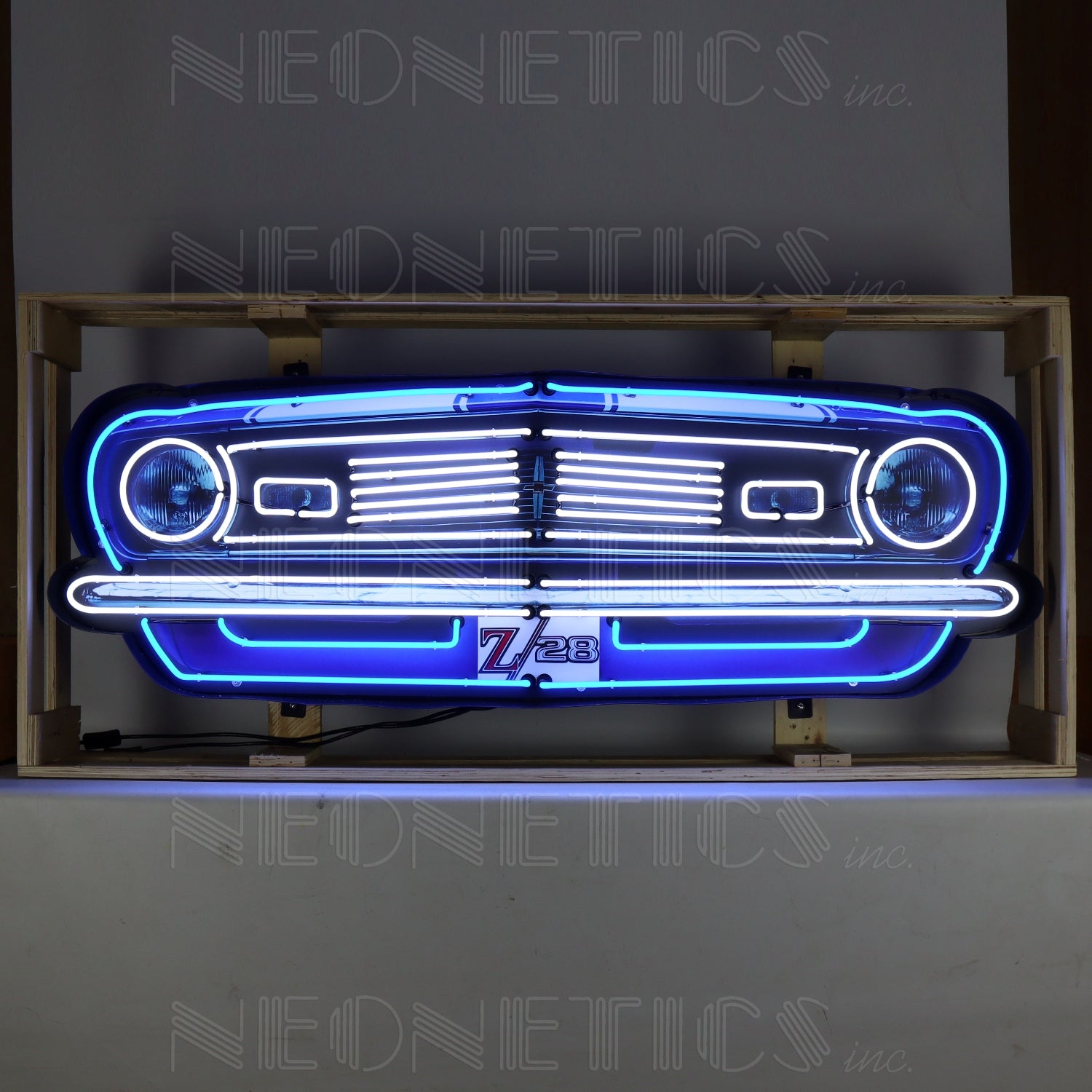 Camaro Z28 Grill Neon Sign in a Steel Can