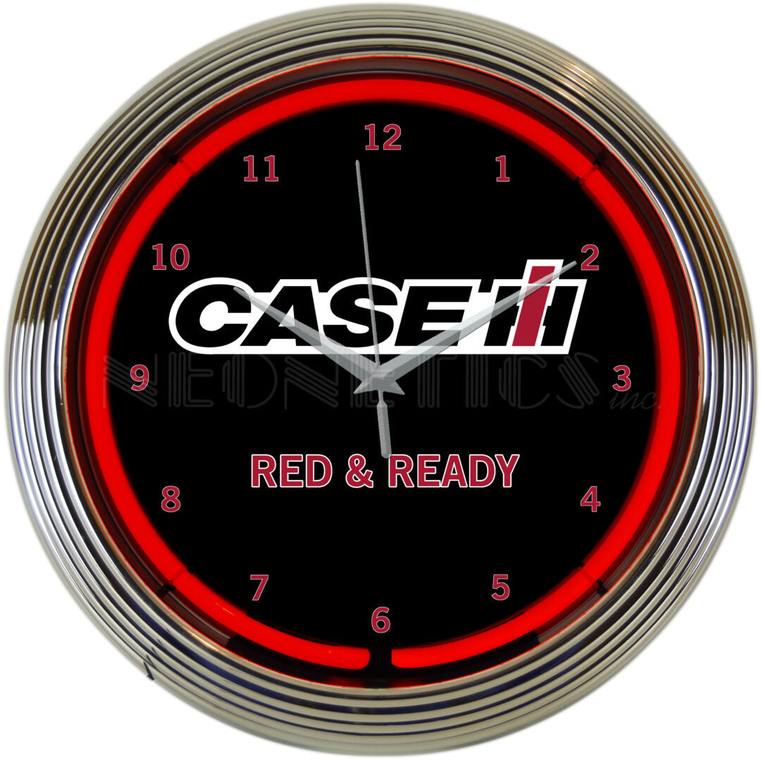 Case IH Red & Ready Neon Clock