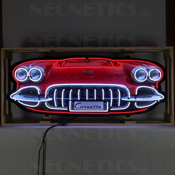 Corvette C1 Grill Neon Sign in a Steel Can