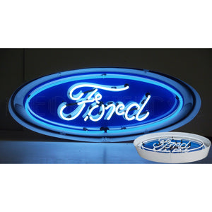 Ford Oval Neon Sign in a Steel Can