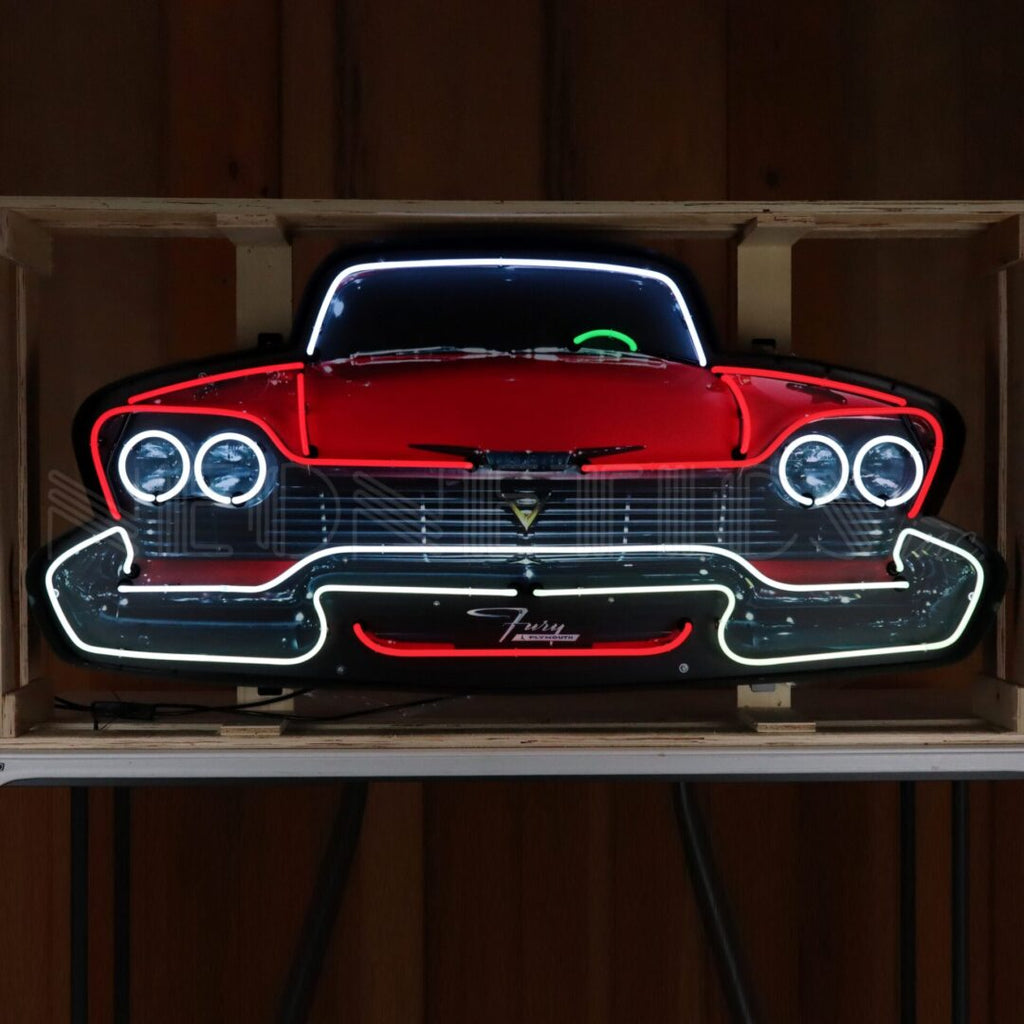 Plymouth Fury Grill Neon Sign in a Steel Can