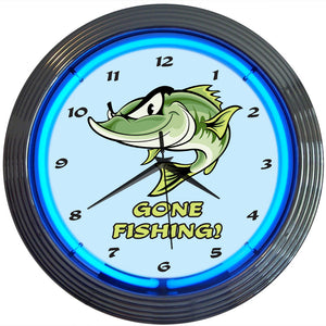 Gone Fishing Neon Clock