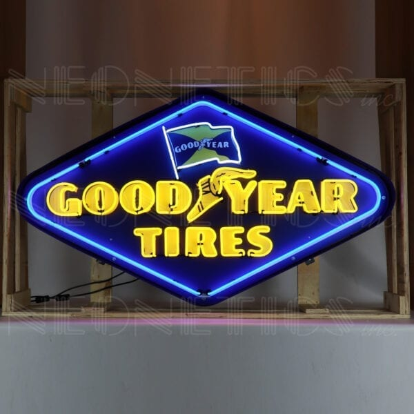Goodyear Tires Diamond Neon Sign in a Steel Can