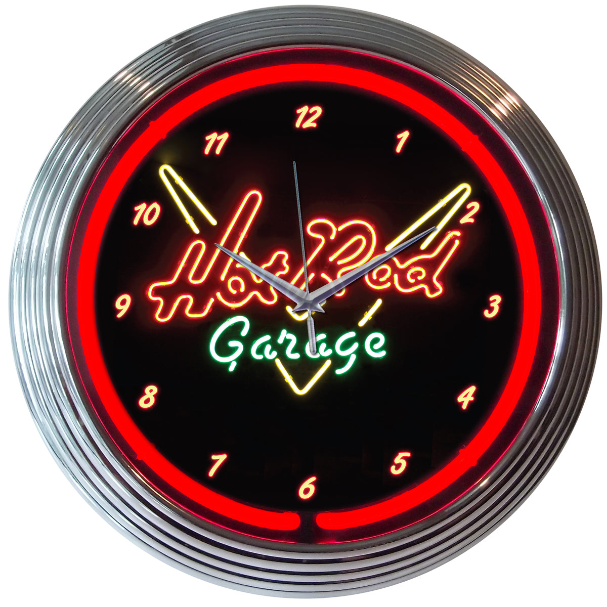 Hot Rod Garage Neon Clock