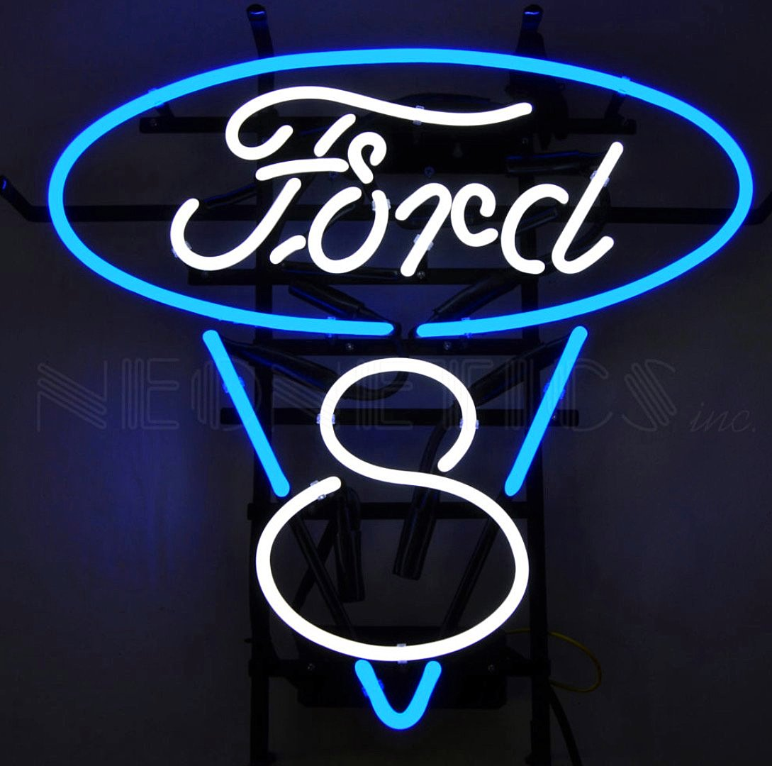 Ford V-8 Neon Sign - Blue and White
