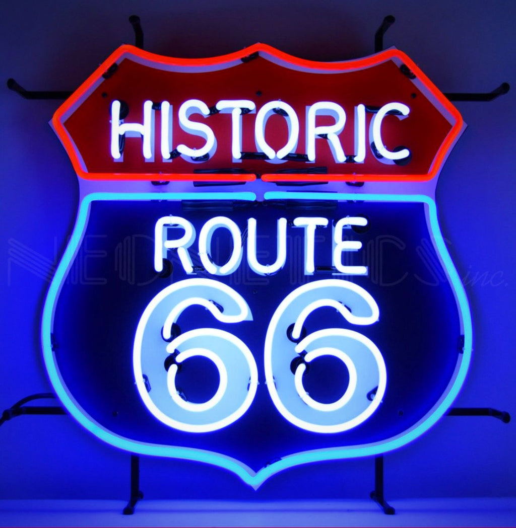 Route 66 with Backing Neon Sign
