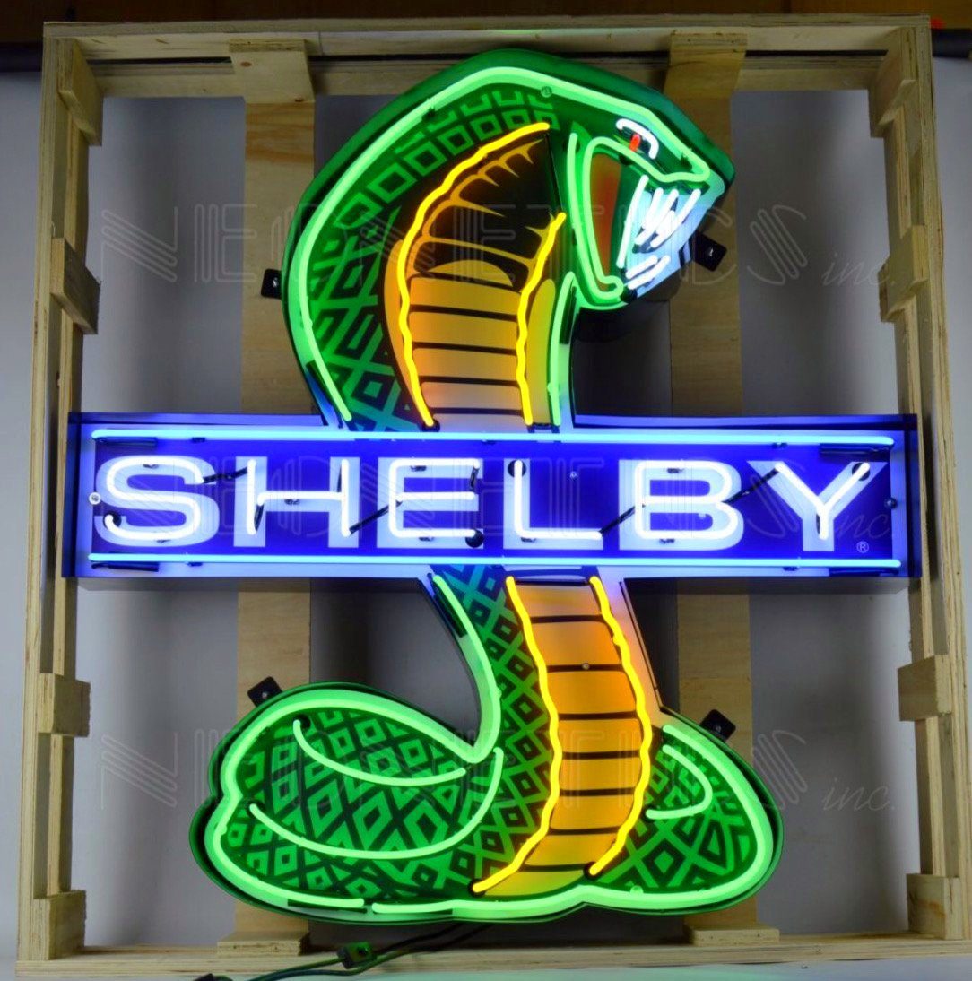 Shelby Cobra Neon Sign in a Steel Can