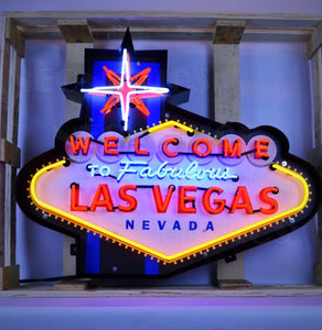 Las Vegas in Steel Can Neon Sign