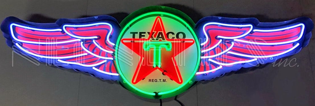 5' Texaco Wings in Steel Can Neon Sign
