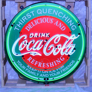 Coca Cola Evergreen in Steel Can Neon Sign