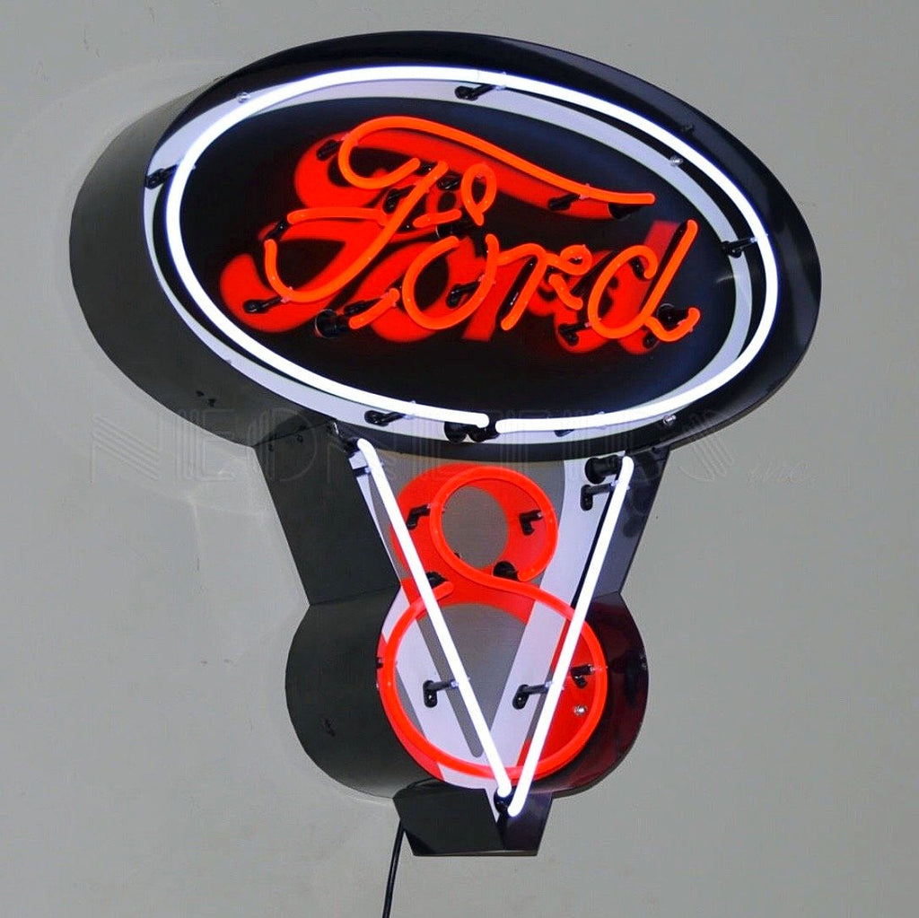 Ford V-8 in Steel Can Neon Sign