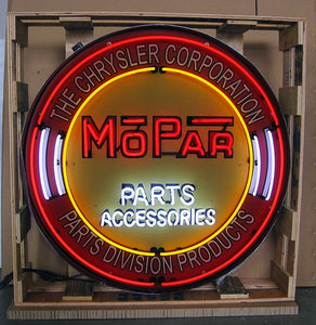Mopar Parts in Steel Can Neon Sign