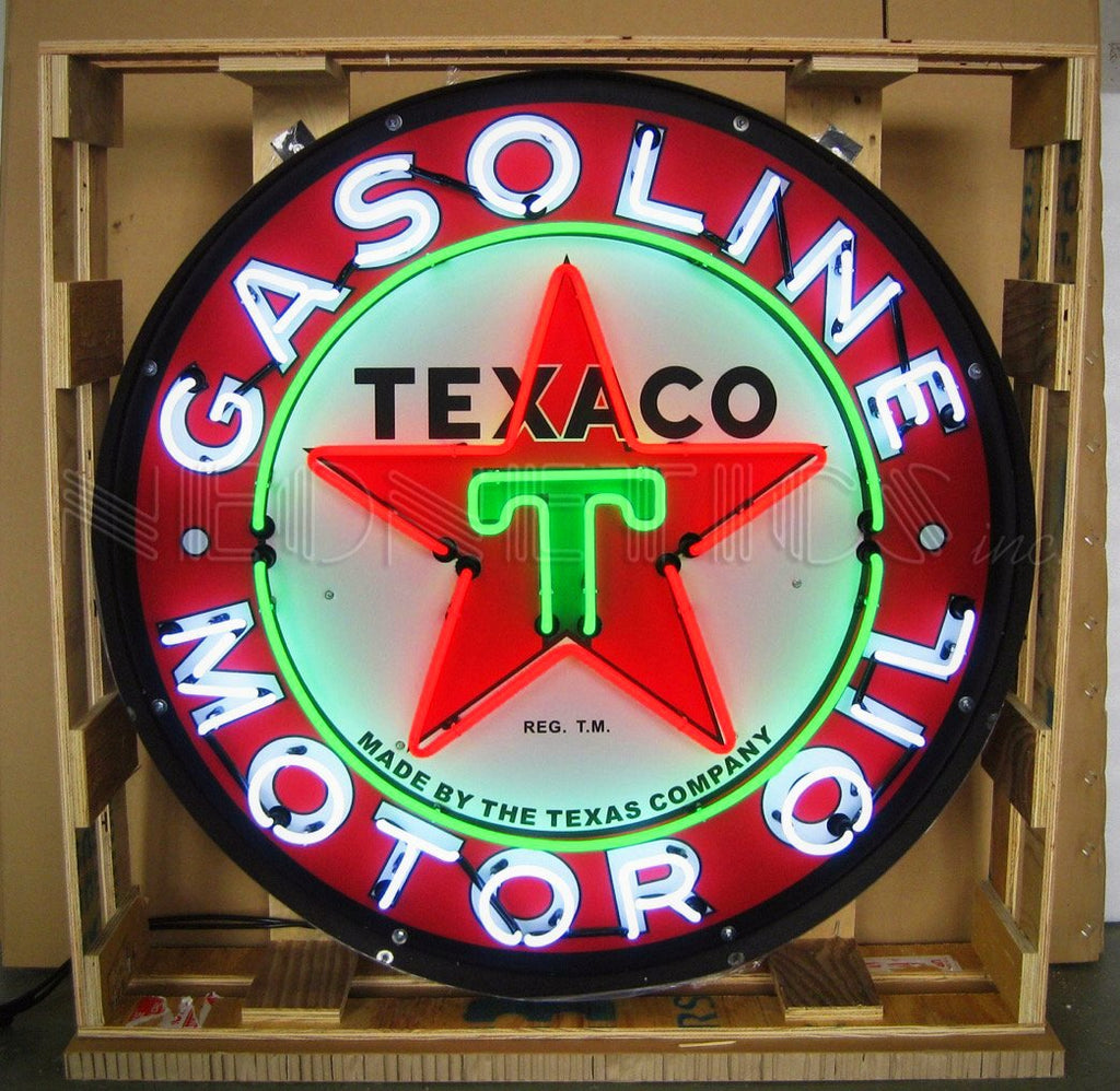 "36"" Texaco Motor Oil in Steel Can Neon Sign"