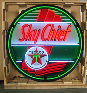 Texaco Sky Chief in Steel Can Neon Sign