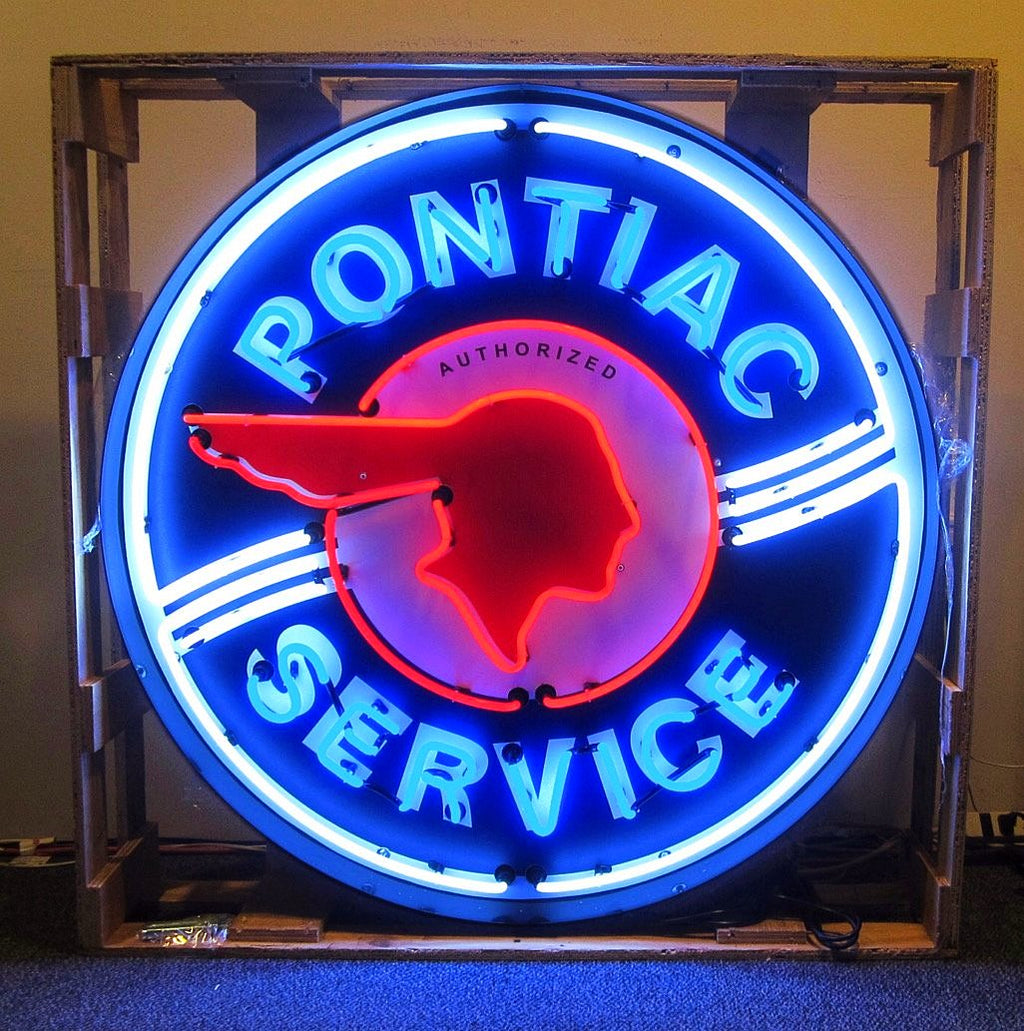 "36"" Pontiac Service Neon In a Steel Can"