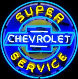 "36"" Super Chevrolet Service in Steel Can Neon Sign"