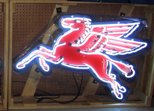 "Mobil One Pegasus ""Left"" in Steel Can Neon Sign"