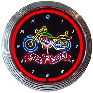"Live ""2"" Ride Motorcycle Neon Clock"