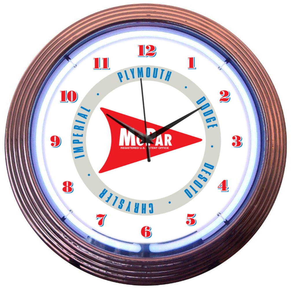 Mopar White Arrow Neon Clock