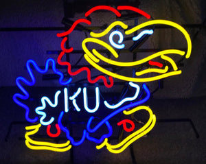 Large KU Jayhawk Neon Sign